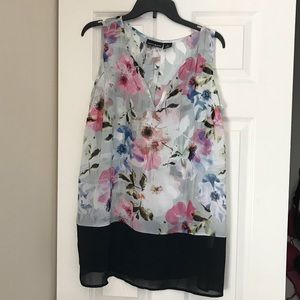 DKNY Jeans, Sheer Floral Tank Top, size 1X
